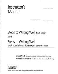 Steps To Writing Well 10e Rdgs 7e Instructors Manual Book PDF
