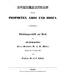 Bemerkungen   ber die Propheten Amos und Hosea PDF