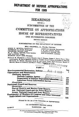 Department of Defense Appropriations for 1989: Environmental restoration, Defense