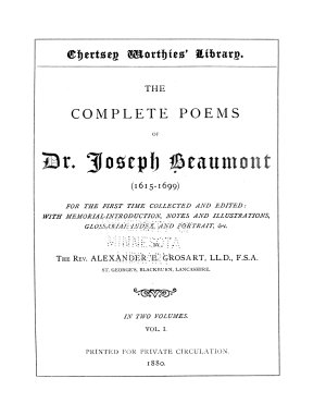 The Complete Poems of Dr  Joseph Beaumont  1615 1699  PDF