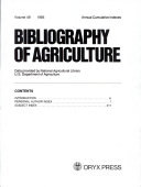 Bibliography of Agriculture Annual Cumulative Indexes PDF