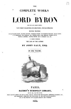 Complete Works of Lord Byron  from the Last London Edition
