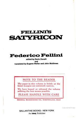 Fellini s Satyricon PDF