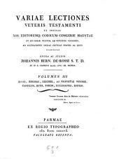Isaias, Jeremias, Ezechiel, XII Prophetea minores, canticum, Ruth, Threni, Ecclesiastes, Esther: Volumen III3, Volume 1