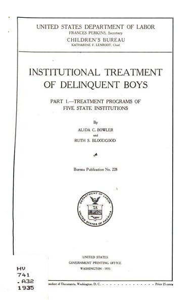 Download Institutional Treatment of Delinquent Boys Book