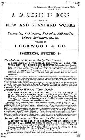 A Catalogue of Books Including Many New and Standard Works in Engineering  Architecture  Mechanics  Mathematics  Science  Agriculture   c    c  Published by Lockwood   Co PDF