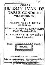 Obras de Don Juan de Tarsis, conde de Villamediana ... Recogidas por ... D. H. de los Valles