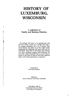 History of Luxemburg  Wisconsin