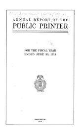 Annual Report of the Public Printer ...