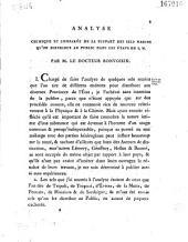 Analyse chimique comparée de la plupart des sels marins qu'on distribu au public dans les Etats de S. M. Par M. le Docteur Bonvoisin