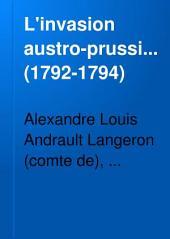 L'invasion, austro-prussienne (1792-1794).: Documents publiés pour la Société d'histoire contimporaine