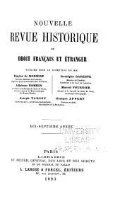 Nouvelle revue historique de droit français et étranger: Volume17