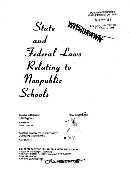 State and Federal Laws Relating to Nonpublic Schools  Apr  28  1975