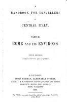 A Handbook for Travellers in Central Italy      Rome and its environs PDF