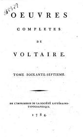 Oeuvres completes de Voltaire. Tome premier [-soixante-dixieme]: Lettres de l'imperatrice de Russie et de M. de Voltaire, Volume67