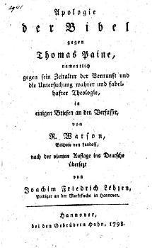 Apologie der Bibel gegen Thomas Paine  namentlich gegen sein Zeitalter der Vernunft und die Untersuchung wahrer und fabelhafter Theologie  in einigen Briefen an den Verfasser PDF