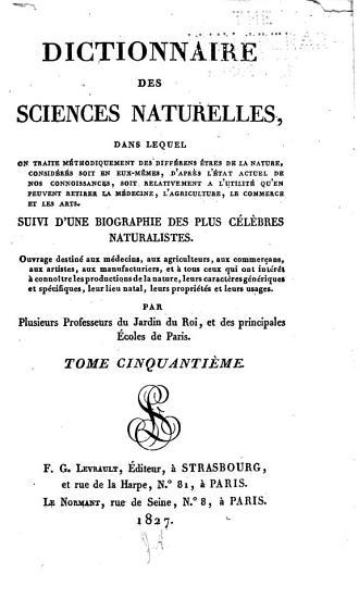 Dictionnaire des sciences naturelles      PDF