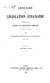 Annuaire de législation étrangère: Volume8
