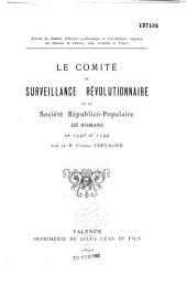 Le comité de surveillance révolutionnaire et la société républico-populaire de Romans en 1793 et 1794