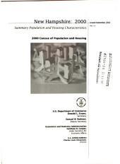 Summary Population and Housing Characteristics: New Hampshire, 2000