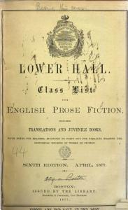 Lower hall  Class list for English prose fiction PDF