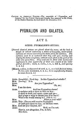 Pygmalion and Galatea. An Entirely Original Mythological Comedy. In 3 Acts