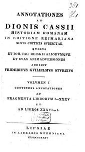 Dio Cassius Historiarum Romanarum quae supersunt ...