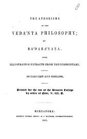 The Aphorisms of the Vedánta Philosophy: Part 1