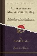 Altpreu  ische Monatsschrift  1865  Vol  2 PDF
