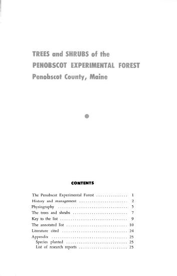 Trees and Shrubs of the Penobscot Experimental Forest  Penobscot County  Maine PDF