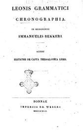 Corpus scriptorum historiae byzantinae: Leonis Grammatici chronographia