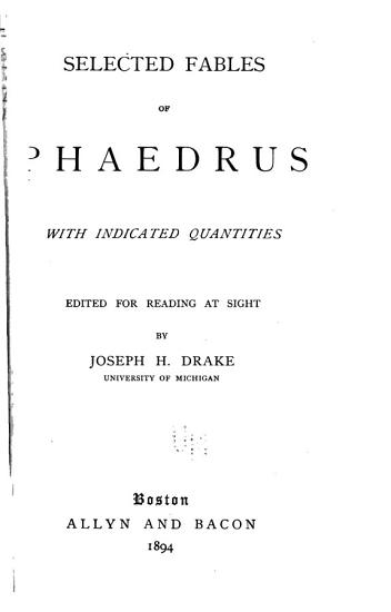 Selected Fables of Phaedrus with Indicated Quantities PDF