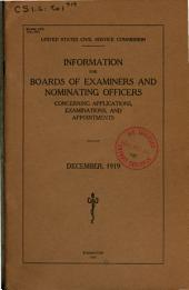 Information for boards of examiners and nominating officers concerning applications, examinations, and appointments
