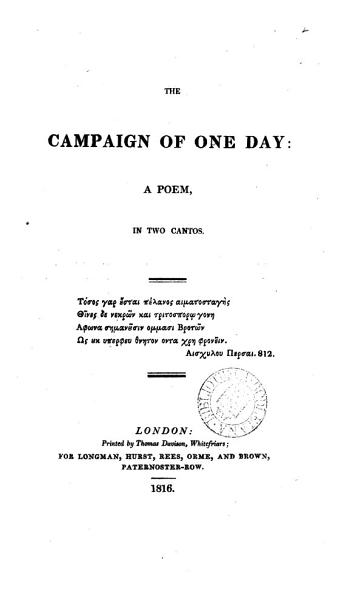 Download The campaign of one day  a poem   Followed by  Occasional poems  by the same author Book