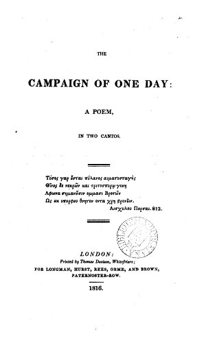 The campaign of one day  a poem   Followed by  Occasional poems  by the same author
