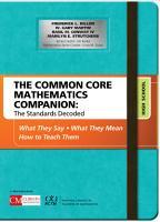 The Common Core Mathematics Companion  The Standards Decoded  High School PDF