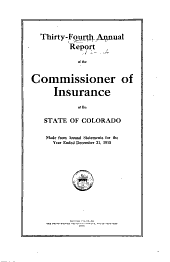 Insurance Industry in Colorado, Statistical Report: Volume 34