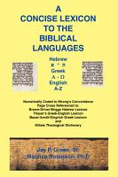 Concise Lexicon to the Biblical Languages PDF