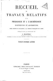 Recueil de travaux relatifs à la philologie et à l'archéologie égyptiennes et assyriennes: Volumes21à22