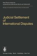 Judicial Settlement of International Disputes PDF