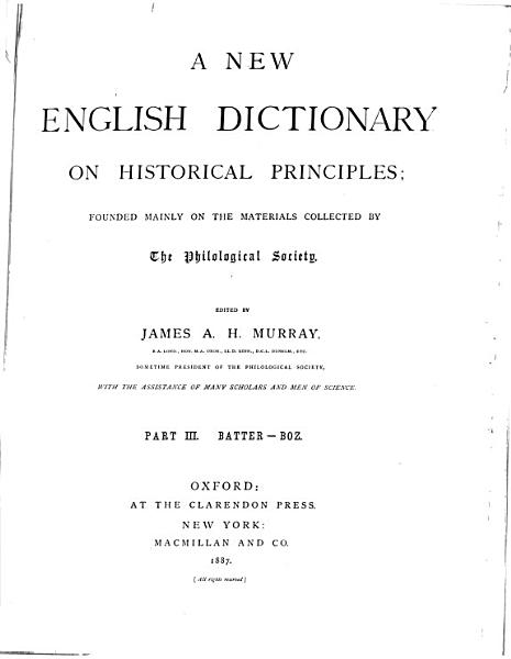Download A New English Dictionary on Historical Principles Book