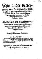 Die ander verteydigung ... der christlichen Lehr ... die dieser zeyt zu Bonn ... gepredigt würdt