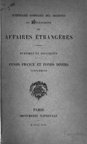 Inventaire sommaire des archives du Département des affaires étrangères: France. 1883