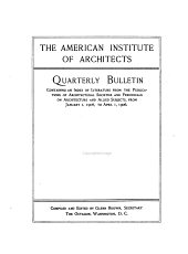 Quarterly Bulletin Containing an Index of Literature from the Publications of Architectural Societies and Periodicals on Architecture and Allied Subjects: Volume 7