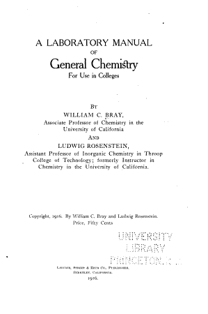 A Laboratory Manual of General Chemistry PDF