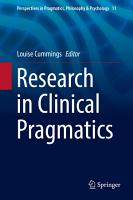 Research in Clinical Pragmatics PDF