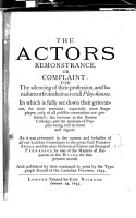 The Actors Remonstrance PDF