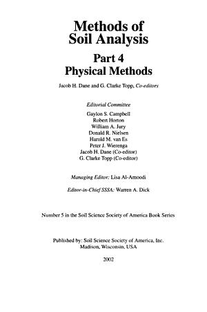 Methods of Soil Analysis  Physical methods