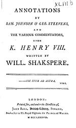 Annotations by Sam. Johnson & Geo. Steevens, and the Various Commentators, Upon Hamlet, Written by Will. Shakespeare