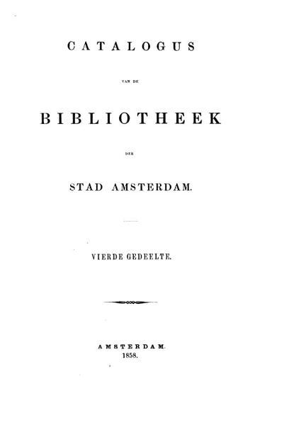 Catalogus Van De Bibliothek Der Stad Amsterdam